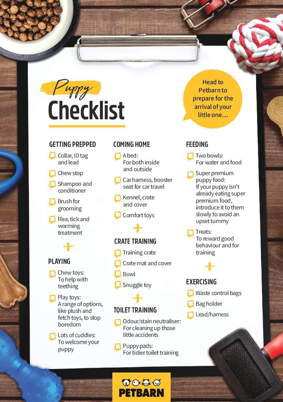 Petbarn puppy checklist