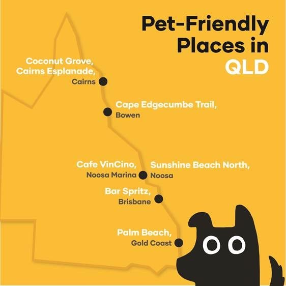 Map of dog-friendly places in Queensland