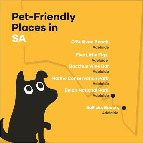 Map of dog-friendly places in South Australia