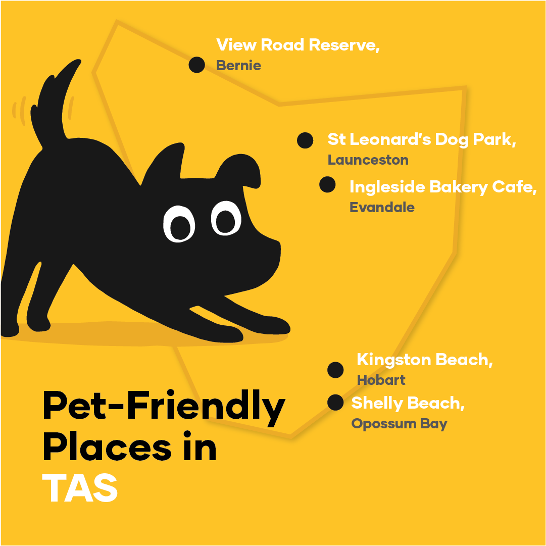 Map of pet-friendly places in Tasmania