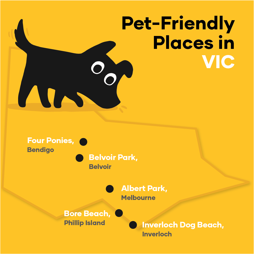 Map of pet-friendly places in Victoria
